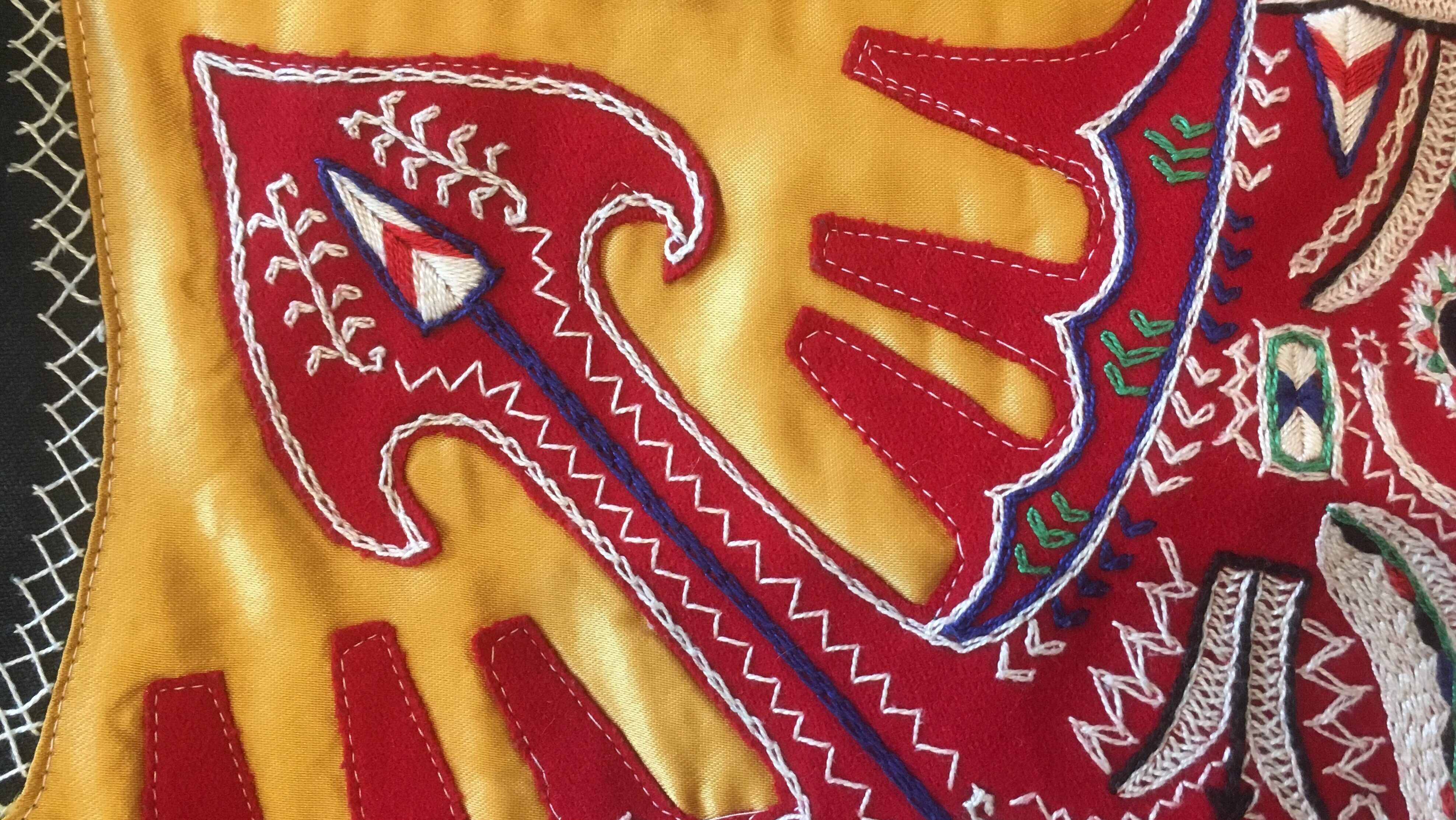 Detail of embroidery on the traditional attire of Drimos, Macedonia