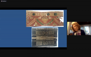 Two Byzantine textiles displayed at a virtual event.